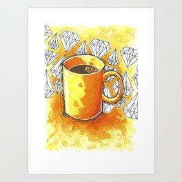 Bright Orange Morning Coffee Watercolor Art Print Art Print
