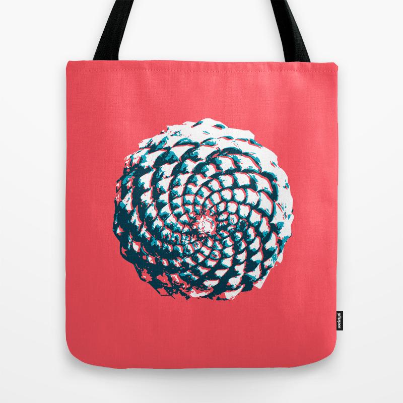 Pine Cone Pattern In Coral, Aqua And Indigo Tote Bag by Vrijformaat TBG8743717