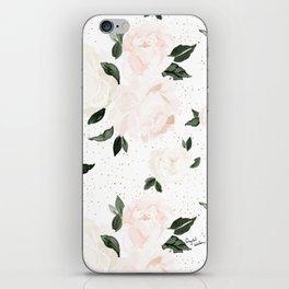 vintage blush floral iPhone Skin
