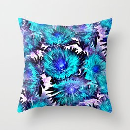 Turquoise Purple Abstract Flowers Throw Pillow