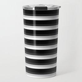Stripes Black Gray & White Ombre Travel Mug