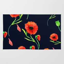 Red Poppies Field Rug