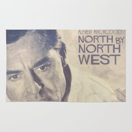 North by Northwest, Alfred Hitchcock, vintage movie poster, Cary Grant, minimalist Rug