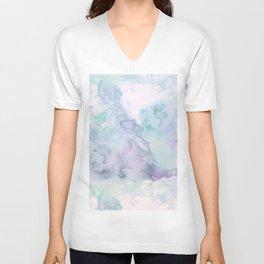 Pastel modern purple lavender hand painted watercolor wash Unisex V-Neck