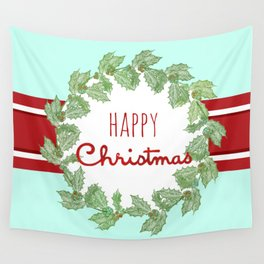 Happy Christmas striped holiday Wall Tapestry