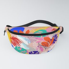 Keep Growing - Tropical plant on peach Fanny Pack