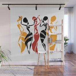 Abstract African dancers silhouette. Figures of african women. Wall Mural