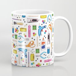 Cute & Crafty - Fun Pattern For Crafters w/ Colorful Craft Supplies Coffee Mug