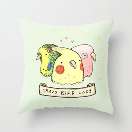 Crazy Bird Lady Throw Pillow