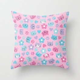 Kitty Cat Pattern by Everett Co Throw Pillow