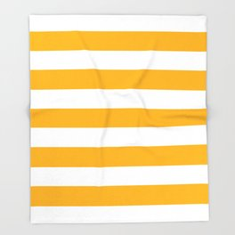 UCLA gold - solid color - white stripes pattern Throw Blanket