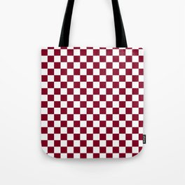 White and Burgundy Red Checkerboard Tote Bag
