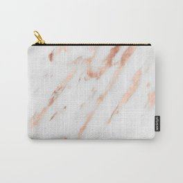 Pink Quartz Marble Rose Gold White Carry-All Pouch