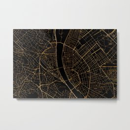Black and gold Budapest map Metal Print