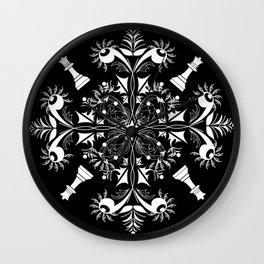 White Chess Inspired Queenly Motif Wall Clock