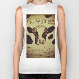 Go Vegan Now - Save Me And My Children Cow Mom Biker Tank