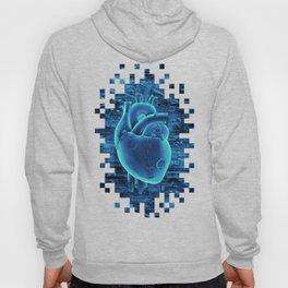Gamer Heart BLUE TECH / 3D render of mechanical heart Hoody
