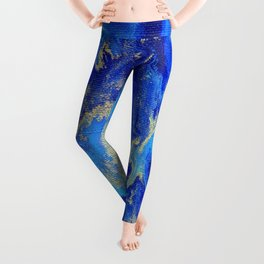 Gold & blue abstract no.171008 Leggings