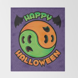 Happy Halloween Ghost Yin-Yang Throw Blanket