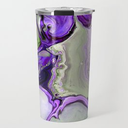 Colorful Purple Fluid Acrylic Pour Art - Digital Art Travel Mug