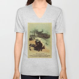 Vintage French drowned sailors charity advertising Unisex V-Neck