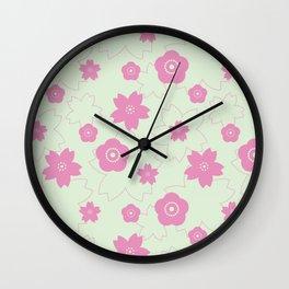 Sakura blossom - spring green Wall Clock