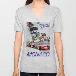 Gran Prix de Monaco, 1971, original vintage poster Unisex V-Neck