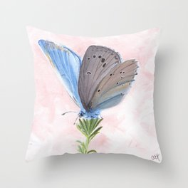 Blue and Purple Butterfly Art Throw Pillow