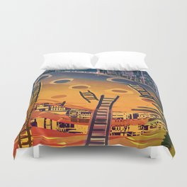 Time through Time, from Caves to Skyscraper, from Organic to Geometric Duvet Cover