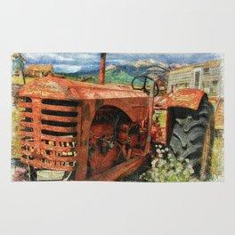 Old Farm Tractor in Field-Farm Theme Decor Rug