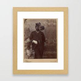 Distinguished Hippo Framed Art Print