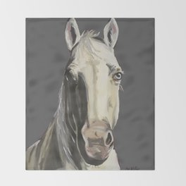 Horse Art, Grey Horse Art, Farm Animal Art Throw Blanket