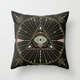 Evil Eye Mandala – Black Throw Pillow