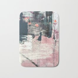 Sweet tooth [7]: a colorful abstract mixed media piece in pink, blues, and white Bath Mat