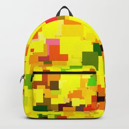 geometric square pattern pixel abstract background in yellow orange green red Backpack