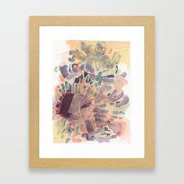 collage with watercolor, pen, and fabric Framed Art Print