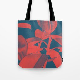 Rubber Plant red and blue Tote Bag