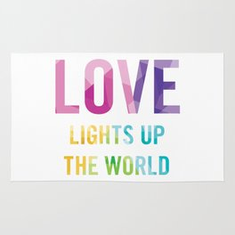 Love Lights Up The World Quote Rug