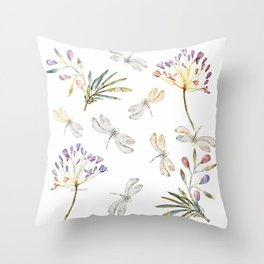 Love Amongst The Dragonflies - Bagaceous Throw Pillow