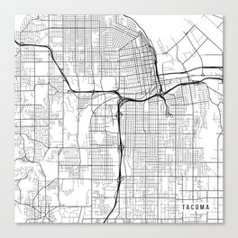 Tacoma Map, USA - Black and White Canvas Print