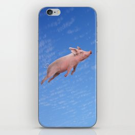 Flying pig iPhone Skin