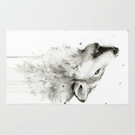 Wolf Howling Watercolor Animals Painting Black and White Rug