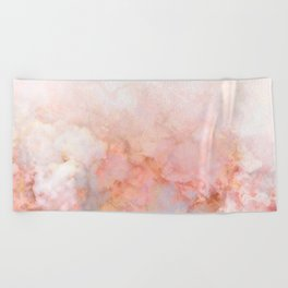 Beautiful Pink and Gold Ombre marble under snow Beach Towel