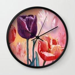 Blue Tulip Wall Clock
