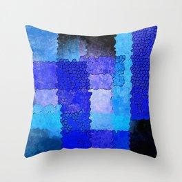 Blue Grunge Throw Pillow