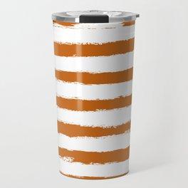Autumn Maple STRIPES Handpainted Brushstrokes Travel Mug