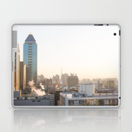 Peaceful Coffee Drinking Morning in Urban City Laptop & iPad Skin