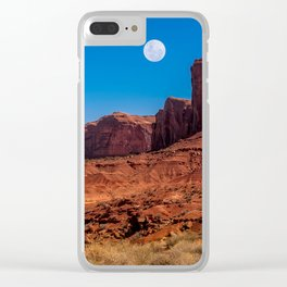 Moon rising in Monument Valley Clear iPhone Case