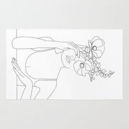 Minimal Line Art Woman with Flowers II Rug