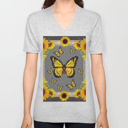 YELLOW MONARCH BUTTERFLIES SUNFLOWER ART Unisex V-Neck
